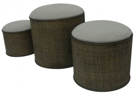 Casa Padrino Landhausstil Sitzblock 3er Set Dunkelbraun / Beige - Handgefertigte Sitzblöcke mit Stauraum und gepolsterten Sitzflächen