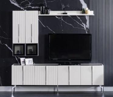 Casa Padrino Luxus Art Deco TV Schrank Weiß / Schwarz / Silber 208 x 44 x H. 64 cm - Edler Wohnzimmer Fernsehschrank mit 4 Türen - Art Deco Möbel