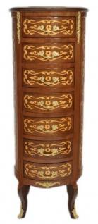Casa Padrino Barock Kommode Mahagoni Intarsien / Gold mit 7 Schubladen Rund - Antik Stil
