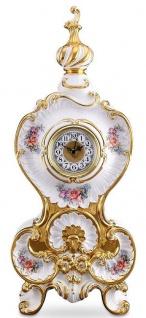 Casa Padrino Barock Tischuhr Weiß / Gold / Mehrfarbig 37 x 17 x H. 84 cm - Prunkvolle Barock Keramik Uhr mit Blumen Design