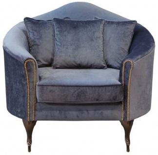 Casa Padrino Luxus Barock Samt Sessel Blau / Dunkelbraun 120 x 90 x H. 100 cm - Edler Wohnzimmer Sessel mit dekorativen Kissen - Barock Wohnzimmer Möbel - Luxus Qualität