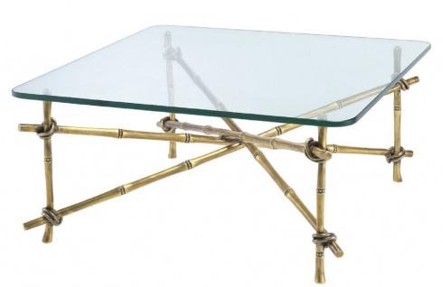 Casa Padrino Luxus Couchtisch Vintage Messingfarben 70 x 70 x H. 32, 5 cm - Messing Wohnzimmertisch mit Glasplatte - Luxus Möbel