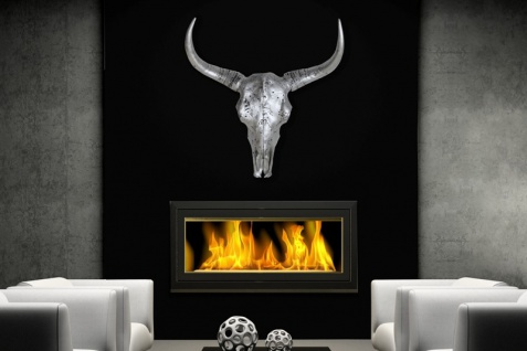 Casa Padrino Schädel El Toro silber Longhorn Skull Höhe 62 cm, Breite 69 cm, Tiefe 15 cm, edle Skulptur aus Polyresin, Edel & Prunkvoll