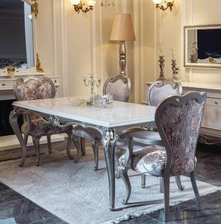 Casa Padrino Luxus Barock Esszimmer Set Rosa / Weiß / Silber - 1 Esstisch & 6 Esszimmerstühle - Esszimmer Möbel im Barockstil - Edle Barock Möbel