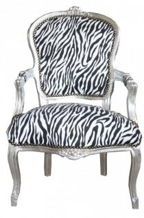 Casa Padrino Barock Salon Stuhl Zebra / Silber