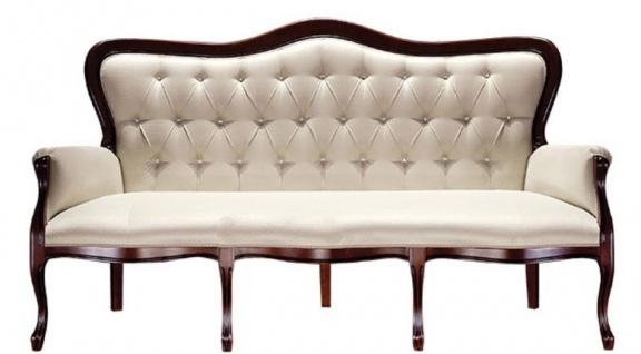 Casa Padrino Luxus Barock Chesterfield Sofa Beige / Dunkelbraun 184 x 81 x H. 107 cm - Wohnzimmermöbel im Barockstil