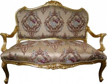 Casa Padrino Barock Sofa Creme Muster / Gold - italienischer Stil - Barock Möbel - prunkvoll und ausgefallen! - Vorschau 2