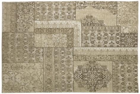 Casa Padrino Luxus Baumwoll Teppich Beige - Verschiedene Größen - Rechteckiger Wohnzimmer Teppich mit Relief Struktur und verwaschenem Used Look - Luxus Qualität