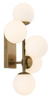 Casa Padrino Luxus Wandleuchte Antik Messingfarben / Weiß 27 x 24 x H. 50 cm - Wohnzimmer Wandlampe