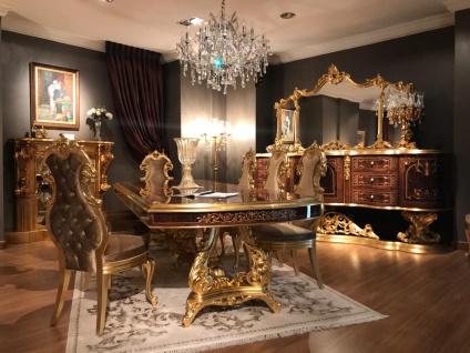 Casa Padrino Luxus Barock Esszimmer Set Braun / Antik Gold - 1 Esstisch & 8 Esszimmerstühle - Esszimmer Möbel im Barockstil - Edel & Prunkvoll