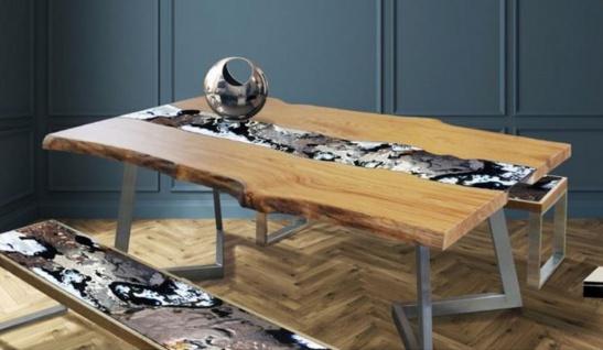 Casa Padrino Luxus Esstisch Naturfarben / Mehrfarbig / Silber 200 x 100 x H. 75 cm - Moderner Massivholz Tisch mit edlem Lavastein und Edelstahl Gestell - Esszimmmer Möbel - Luxus Qualität