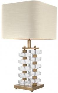 Casa Padrino Tischleuchte mit naturfarbenem Lampenschirm 27 x 40 x H. 77 cm - Luxus Hotel & Restaurant Möbel - Vorschau 2