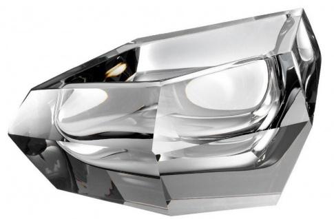 Casa Padrino Luxus Kristallglas Schüssel Grau 22 x 14 x H. 10, 5 cm - Designer Deko Schüssel - Deko Accessoires