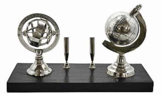 Casa Padrino Luxus Stiftehalter mit 2 dekorativen Globen Silber / Schwarz 25, 5 x 10 x H. 13 cm - Büro Accessoires