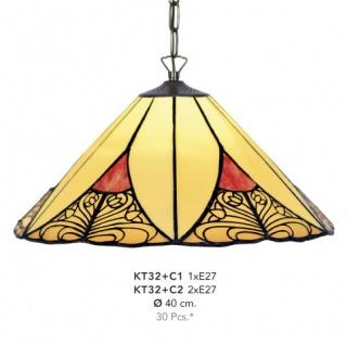 Handgefertigte Tiffany Hängeleuchte von Casa Padrino, Durchmesser 40 cm, 2-Flammig - Leuchte Lampe - wunderschöne Tiffany Deckenleuchte