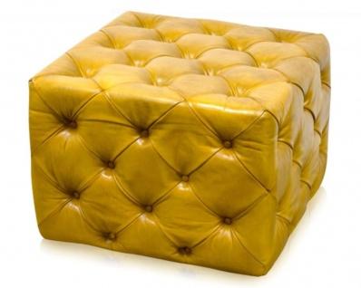 Casa Padrino Luxus Echtleder Fußhocker Vintage Gelb 64 x 64 x H. 46 cm - Chesterfield Möbel
