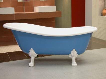 Freistehende Luxus Badewanne Jugendstil Roma Hellblau/Weiß/Weiß 1470mm - Barock Antik Stil Badezimmer - Vorschau 2