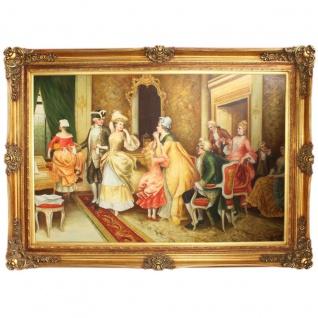 Riesiges Handgemaltes Barock Öl Gemälde Gesellschaft Mod.2 Gold Prunk Rahmen 225 x 165 x 10 cm - Massives Material