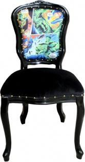 Casa Padrino Luxus Barock Esszimmer Set Comic Mehrfarbig / Schwarz 55 x 54 x H. 103 cm - 4 handgefertigte Esszimmerstühle - Designer Stühle - Barock Esszimmermöbel - Vorschau 2