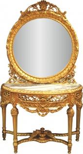 Casa Padrino Luxus Barock Spiegelkonsole mit Marmorplatte Gold 124 x H 220 cm - Hotel Möbel - Spiegel Konsole