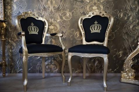 Pompöös by Casa Padrino Luxus Barock Esszimmerstuhl mit Armlehnen Schwarz / Gold - Pompööser Barock Stuhl designed by Harald Glööckler - Vorschau 4