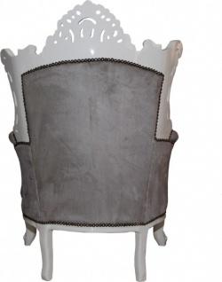 Casa Padrino Barock Sessel Al Capone Grau / Weiß - Wohnzimmer Sessel im Antik Stil - Vorschau 2