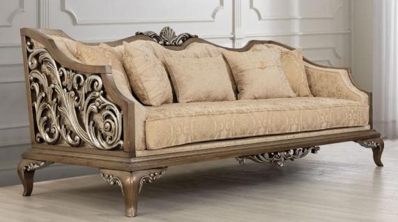 Casa Padrino Luxus Barock Sofa Beige / Gold / Braun / Silber - Wohnzimmer Sofa im Barockstil - Barock Wohnzimmer Möbel - Edel & Prunkvoll