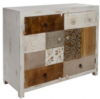 Casa Padrino Landhausstil Kommode mit 2 Türen Antik Weiß / Mehrfarbig 100 x 40 x H. 90 cm - Shabby Chic Möbel - Vorschau 2