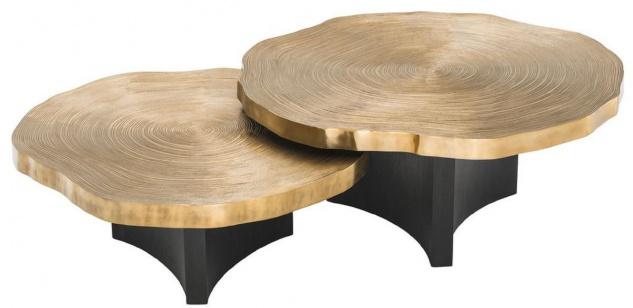 Casa Padrino Luxus Couchtisch Set Messingfarben / Schwarz - Luxuriöse Wohnzimmertische mit Tischplatten im Baumscheiben Design - Vorschau 2