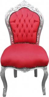 Casa Padrino Barock Esszimmer Stuhl Rot/Silber ohne Armlehnen