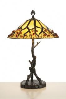 Handgefertigte Tiffany Hockerleuchte Tischleuchte Höhe 64 cm, Durchmesser 40 cm - Leuchte Lampe
