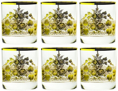 Casa Padrino Luxus Barock Whisky Glas 6er Set Gold Ø 8 x H. 9 cm - Handgefertigte und handgravierte Whiskygläser - Hotel & Restaurant Accessoires - Luxus Qualität - Vorschau 5