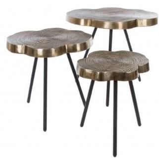 Casa Padrino Luxus Beistelltisch Set Bronze / Schwarz 57 x 50 x H. 52 cm - Metall Beistelltische im Baumscheiben Design mit aufwendigem Jahresringmuster in den Tischplatten