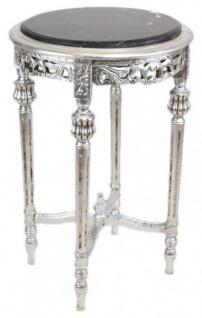 Casa Padrino Barock Beistelltisch mit schwarzer Marmorplatte Rund Silber 70 x 45 cm Antik Stil - Telefon Blumen Tisch