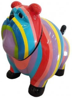 Casa Padrino Designer Dekofigur Alter Hund Bunt Gestreift 75 x H. 63 cm - Wetterbeständige Deko Skulptur - Wohnzimmer Deko - Garten Deko - Designer Deko Tierfigur