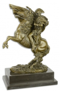Casa Padrino Luxus Bronze Skulptur Napoleon mit Pferd Bronze / Gold / Schwarz 29, 9 x 19, 6 x H. 43, 5 cm - Bronzefigur mit Marmorsockel - Dekofigur