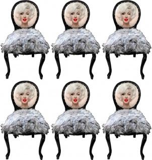 Casa Padrino Luxus Barock Esszimmerstuhl Set Marilyn Monroe Grau / Schwarz 50 x 60 x H. 104 cm - Handgefertigte Pop Art Designer Stühle mit Kunstfell - Barock Esszimmer Möbel
