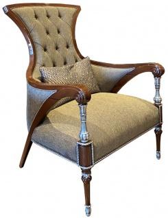 Casa Padrino Luxus Barock Wohnzimmer Sessel Grau / Braun / Silber 77 x 87 x H. 108 cm - Edle Wohnzimmer Möbel im Barockstil