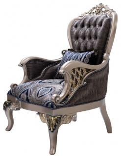 Casa Padrino Luxus Barock Sessel mit dekorativem Kissen Blau / Silber / Gold 81 x 85 x H. 119 cm - Barock Wohnzimmer Sessel - Barock Möbel