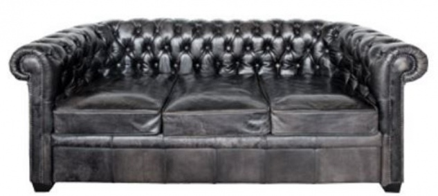 Casa Padrino Luxus Chesterfield Büffelleder Sofa Vintage Schwarz 222 x 92 x H. 73 cm - Luxus Möbel