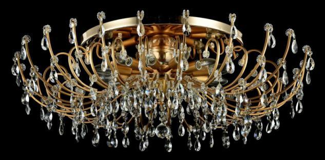 Casa Padrino Barock Kristall Decken Kronleuchter Gold 88 x H 27 cm Antik Stil - Möbel Lüster Leuchter Hängeleuchte Hängelampe