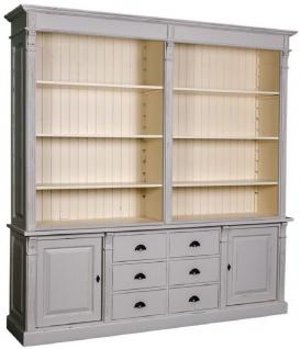 Casa Padrino Landhausstil Bücherschrank Antik Grau / Creme 223 x 51 x H. 240 cm - Wohnzimmerschrank mit 2 Türen und 6 Schubladen - Massivholz Schrank - Landhausstil Möbel