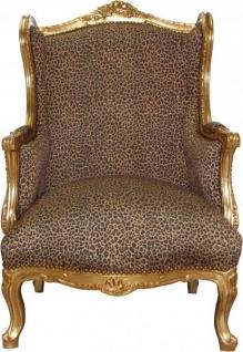 Casa Padrino Barock Lounge Thron Sessel Leopard / Gold Mod2 - Ohren Sessel - Ohrensessel Tron Stuhl