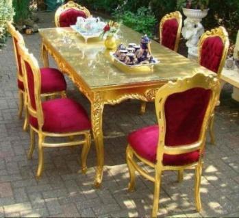Casa Padrino Barock Esszimmerset Bordeauxgold Esstisch 6 Stühle