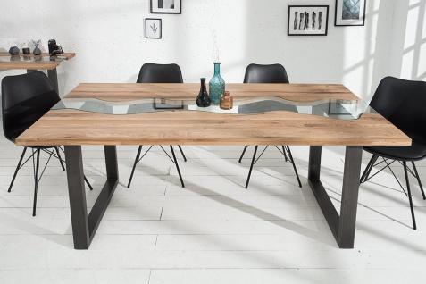 Casa Padrino Designer Massivholz Esstisch Natur - Eiche - mit Glaseinsatz 200 cm Esszimmer Tisch