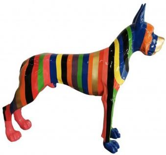 Casa Padrino Designer Dekofigur Hund Deutsche Dogge mit mehrfarbigen Streifen 125 x H. 110 cm - Lebensgroße Deko Skulptur - Wetterbeständige Tierfigur