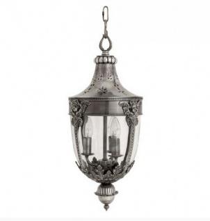 Casa Padrino Barock Hängeleuchte Versilbert Antik-Look, 3 Flammige Barock Laterne, Höhe 60 cm, Durchmesser 30 cm - Barock Schloss Lampe - feinste Qualität