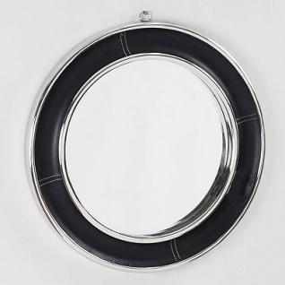 Casa Padrino Luxus Leder Spiegel Schwarz / Silber Ø 58 cm - Designer Möbel