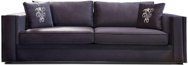 Casa Padrino Luxus Sofa Lila / Silber 240 x 95 x H. 65 cm - Wohnzimmer Sofa mit dekorativen Kissen - Luxus Wohnzimmer Möbel