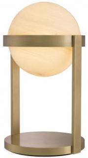 Casa Padrino Luxus Tischleuchte Antik Messingfarben / Weiß Ø 22 x H. 38 cm - Schreibtischleuchte mit rundem Glas Lampenschirm - Luxus Leuchten